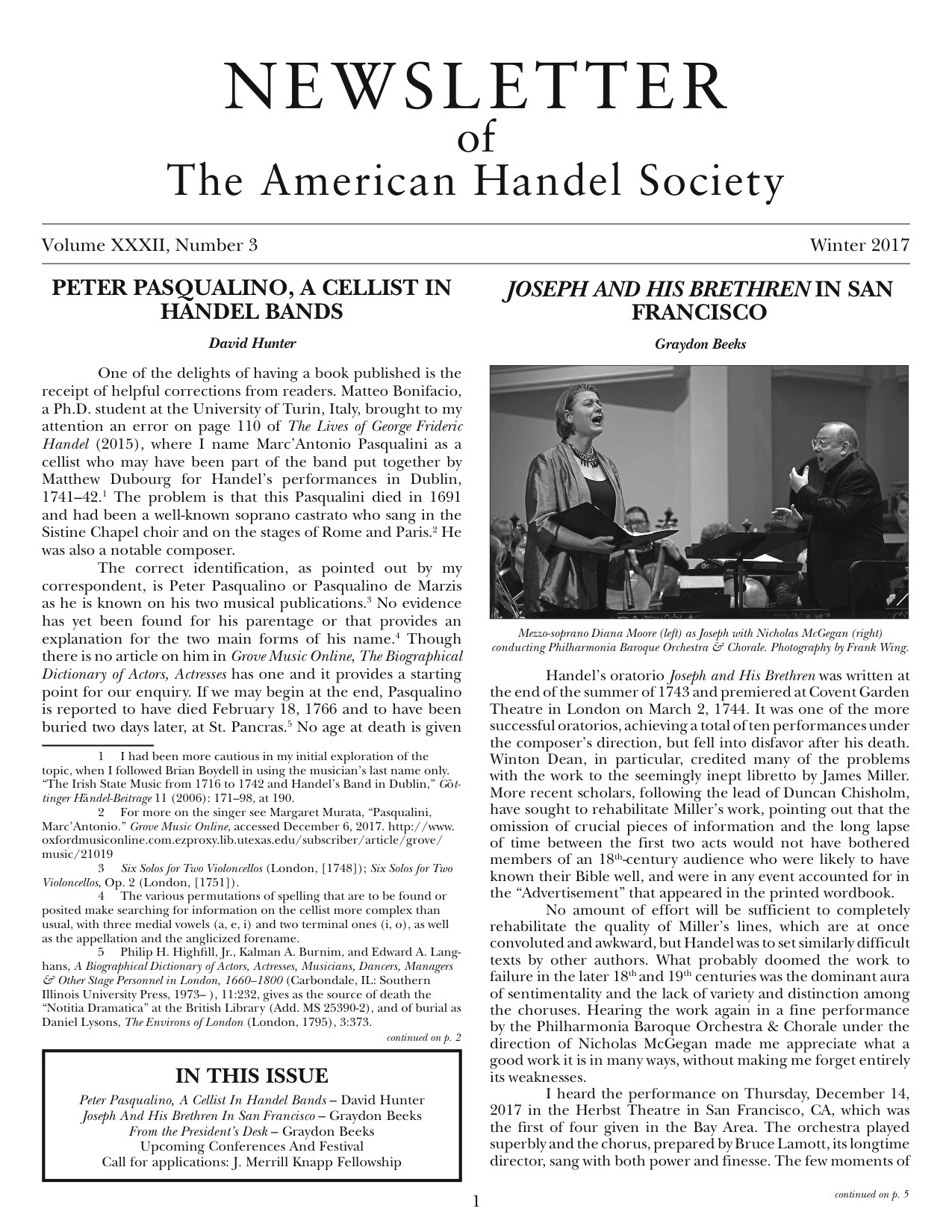 Front cover of American Handel Society Newsletter